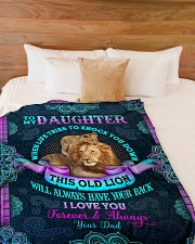"""To Daughter - When Life Tries To Knock You Down Large Fleece Blanket - 60"""" x 80"""" aos-coral-fleece-blanket-60x80-lifestyle-front-02"""