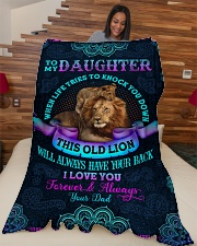 """To Daughter - When Life Tries To Knock You Down Large Fleece Blanket - 60"""" x 80"""" aos-coral-fleece-blanket-60x80-lifestyle-front-04"""