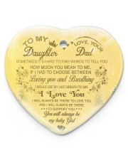 Christmas - To My Daughter - Sometimes It's Hard  Heart ornament - single (porcelain) front