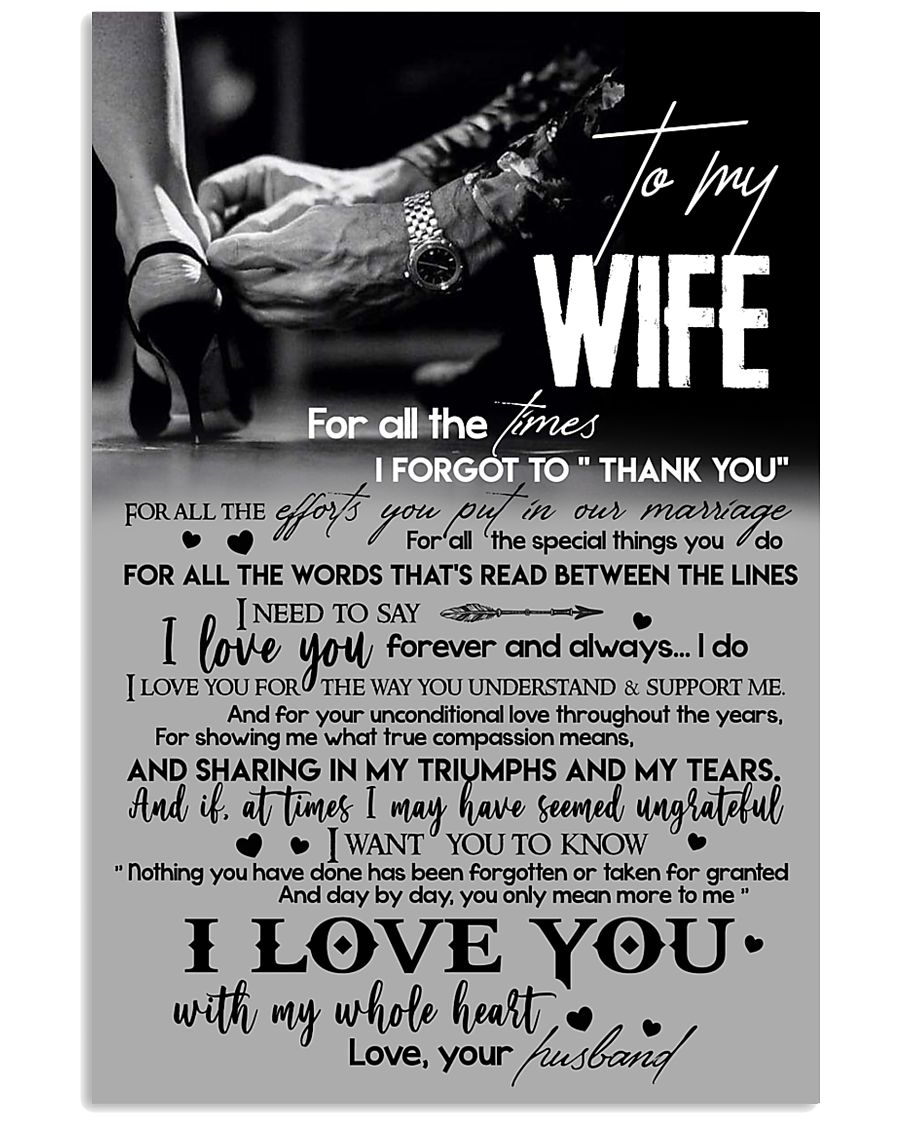 TO MY WIFE - LOVING YOU - I LOVE YOU 16x24 Poster