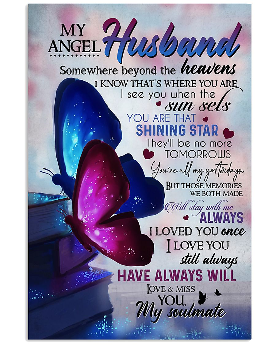 MY ANGEL HUSBAND - BUTTERFLY - MISS YOU 16x24 Poster