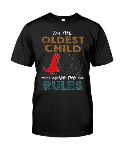 T-SHIRT - T REX - RULES - OLDEST CHILD