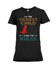 T-SHIRT - T REX - RULES - OLDEST CHILD Premium Fit Ladies Tee thumbnail