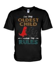 T-SHIRT - T REX - RULES - OLDEST CHILD V-Neck T-Shirt thumbnail