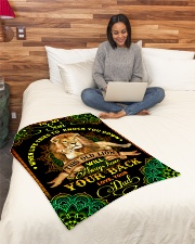 """To Son - Lions - When Life Tries To Knock You Down Small Fleece Blanket - 30"""" x 40"""" aos-coral-fleece-blanket-30x40-lifestyle-front-08"""