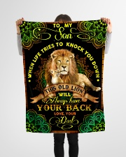 """To Son - Lions - When Life Tries To Knock You Down Small Fleece Blanket - 30"""" x 40"""" aos-coral-fleece-blanket-30x40-lifestyle-front-14"""