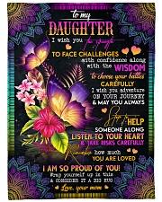 "To My Daughter - Butterflies - I Wish You  Large Fleece Blanket - 60"" x 80"" front"