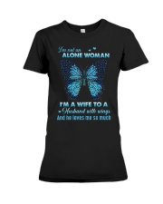 MY ANGEL HUSBAND - BUTTERFLY - MISS YOU Premium Fit Ladies Tee thumbnail