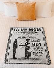 "SON TO MOM Small Fleece Blanket - 30"" x 40"" aos-coral-fleece-blanket-30x40-lifestyle-front-04"