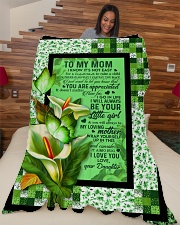 """To My Mom - Calla Lily - Fleece Blanket Large Fleece Blanket - 60"""" x 80"""" aos-coral-fleece-blanket-60x80-lifestyle-front-04"""