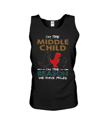 T-SHIRT - T REX - RULES - MIDDLE CHILD