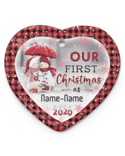 Husband and Wife - Our First Christmas 2020 Heart ornament - single (porcelain) front