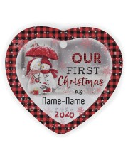 Husband and Wife - Our First Christmas 2020 Heart ornament - single (wood) thumbnail