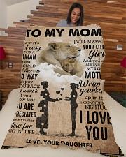 """To My Mom - Lion - Fleece Blanket Large Fleece Blanket - 60"""" x 80"""" aos-coral-fleece-blanket-60x80-lifestyle-front-04"""