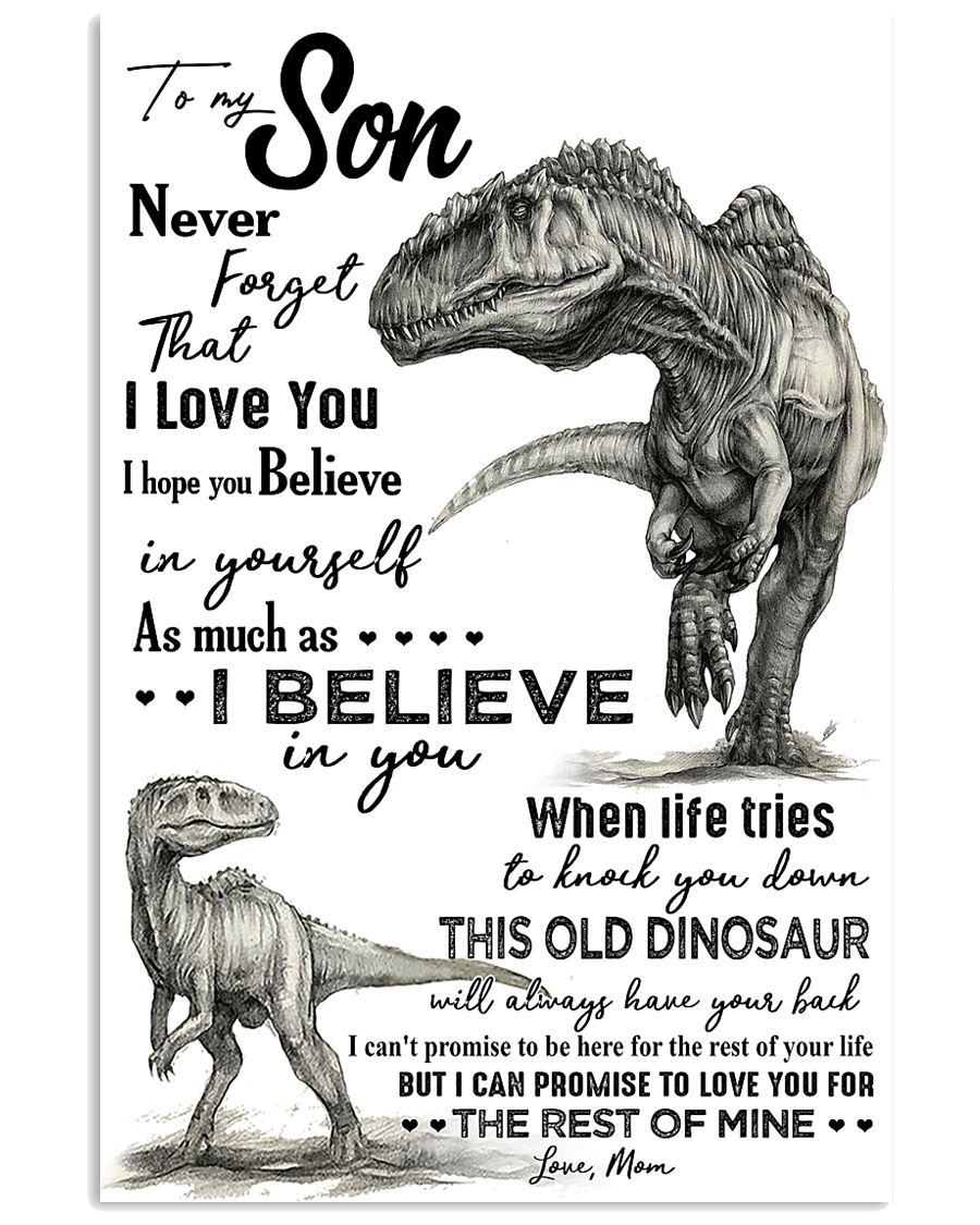 TO MY SON - T REX PENCIL ART - OLD DINOSAUR 16x24 Poster