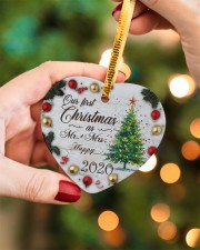 Husband and Wife - Our First Christmas 2020 Heart ornament - single (porcelain) aos-heart-ornament-single-porcelain-lifestyles-08