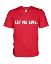 SUPER QUOTES - LET ME LIVE wh V-Neck T-Shirt thumbnail