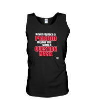 SUPER QUOTES - NEVER REPLACE A PERIOD blk Unisex Tank thumbnail