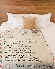 "To our Son - Love  Mom and Dad  - v1 Large Fleece Blanket - 60"" x 80"" aos-coral-fleece-blanket-60x80-lifestyle-front-02"