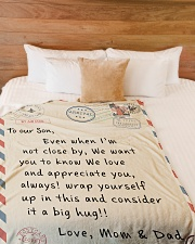 """To our Son - Love  Mom and Dad - v2 Large Fleece Blanket - 60"""" x 80"""" aos-coral-fleece-blanket-60x80-lifestyle-front-02"""