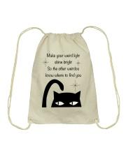 Make your weird light shine bright cat Drawstring Bag thumbnail
