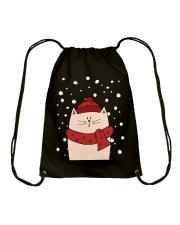 Cat with scarf Drawstring Bag thumbnail
