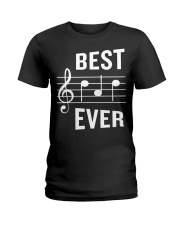 Best Dad Ever Funny Music Note Father Ladies T-Shirt thumbnail