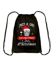 Just a Girl loves Pit Bull and Christmas Drawstring Bag thumbnail