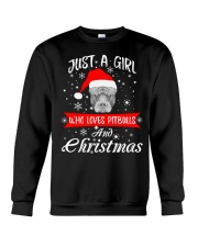 Just a Girl loves Pit Bull and Christmas Crewneck Sweatshirt front