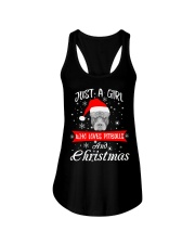 Just a Girl loves Pit Bull and Christmas Ladies Flowy Tank thumbnail