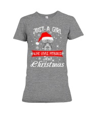 Just a Girl loves Pit Bull and Christmas Premium Fit Ladies Tee thumbnail
