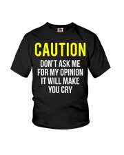 Caution My Opinion Funny Sarcasm T-Shirt Youth T-Shirt thumbnail