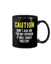 Caution My Opinion Funny Sarcasm T-Shirt Mug thumbnail