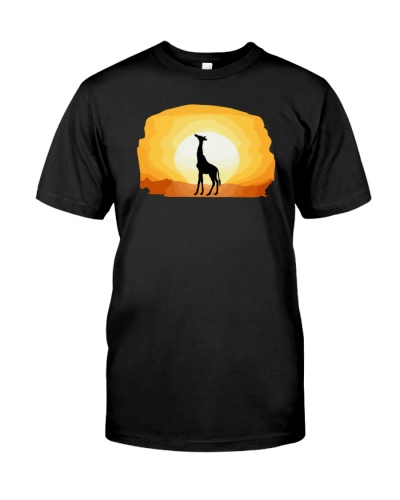 Cool Giraffe Sunset Graphic Giraffe Lover T-shirt