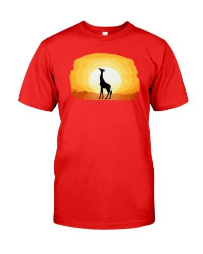 Cool Giraffe Sunset Graphic Giraffe Lover T-shirt
