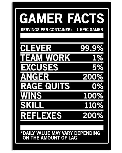 Gamer Facts Funny Video Game Poster