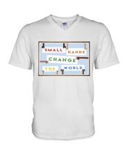 Small Hands Change The World 2 V-Neck T-Shirt thumbnail
