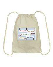 Small hands change the world Drawstring Bag thumbnail