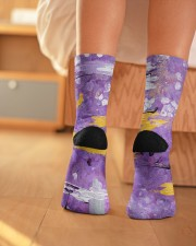 Purple Abstract Crew Length Socks aos-accessory-crew-length-socks-lifestyle-back-01