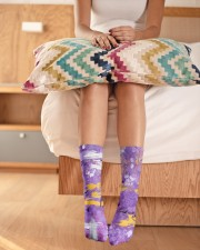 Purple Abstract Crew Length Socks aos-accessory-crew-length-socks-lifestyle-front-01