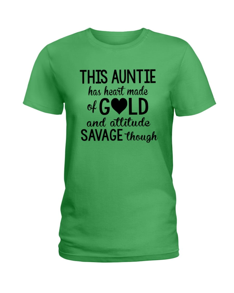 This Auntie Has Heart Made Of Gold Ladies T-Shirt