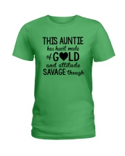 This Auntie Has Heart Made Of Gold Ladies T-Shirt front
