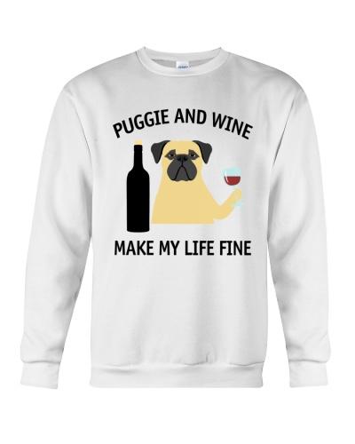 Puggie And Wine Make My Life Fine