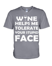 Wine tolerate V-Neck T-Shirt tile