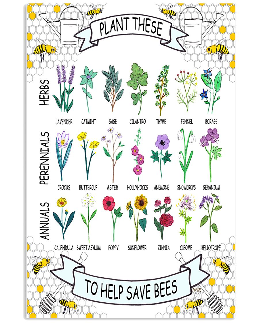 PLANT THESE TO HELP SAVE BEES 24x36 Poster