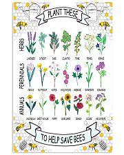 PLANT THESE TO HELP SAVE BEES 24x36 Poster front