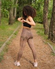 Country Girl Leather Pattern Print High Waist Leggings aos-high-waist-leggings-lifestyle-17