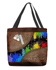 Love Is Love Leather Pattern Print  All-over Tote back