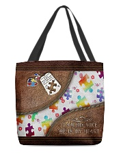 I'm His Voice He's My Heart Leather Pattern Print All-over Tote back