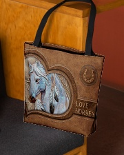 Love Horses Leather Pattern Print All-over Tote aos-all-over-tote-lifestyle-front-02